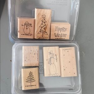 EUC Stampin Up set of 7 total stamps Christmas